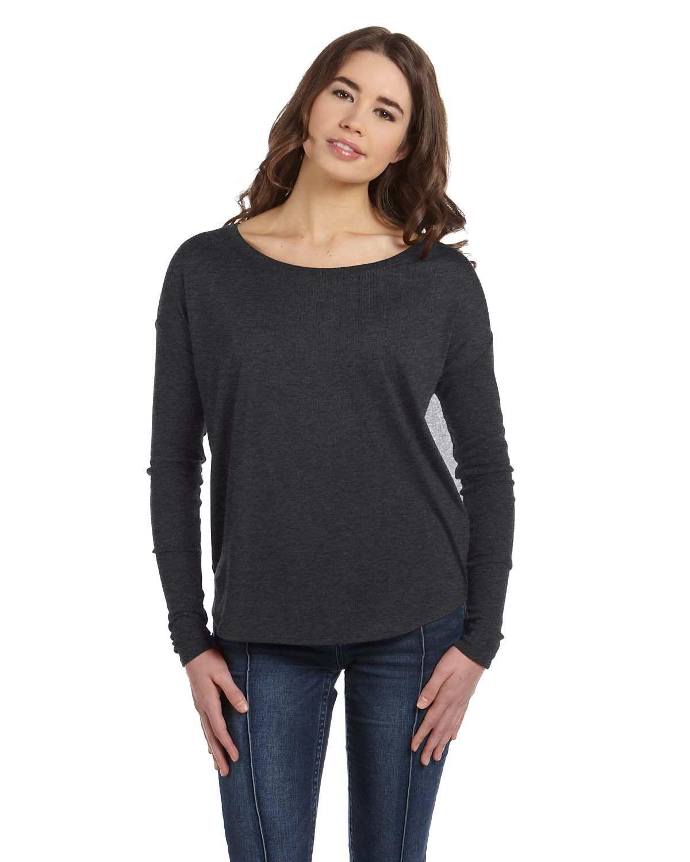 ff2f5a68 Bella + Canvas Ladies' Flowy Long-Sleeve T-Shirt with 2x1 Sleeves 8852 DRK  GREY HEATHER