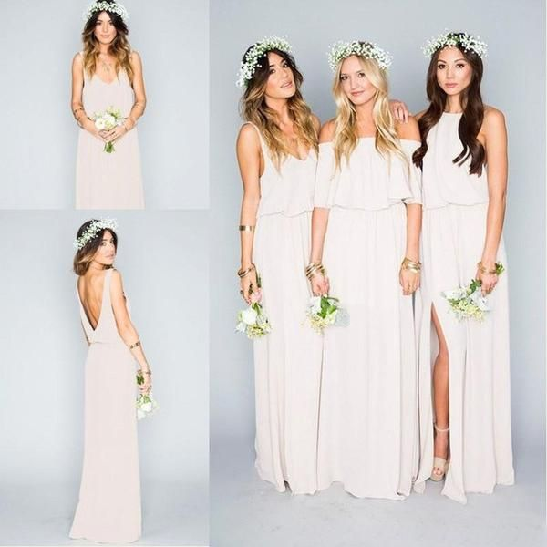 58f30b78a9 Pretty Young Junior Mint Mismatched Different Styles Side Split Chiffon  Cheap Long Bridesmaid Dresses, WG197 The long bridesmaid dresses are fully  lined, ...