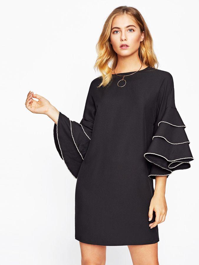 Shein Rhinestone Embellished Layered Bell Sleeve Dress