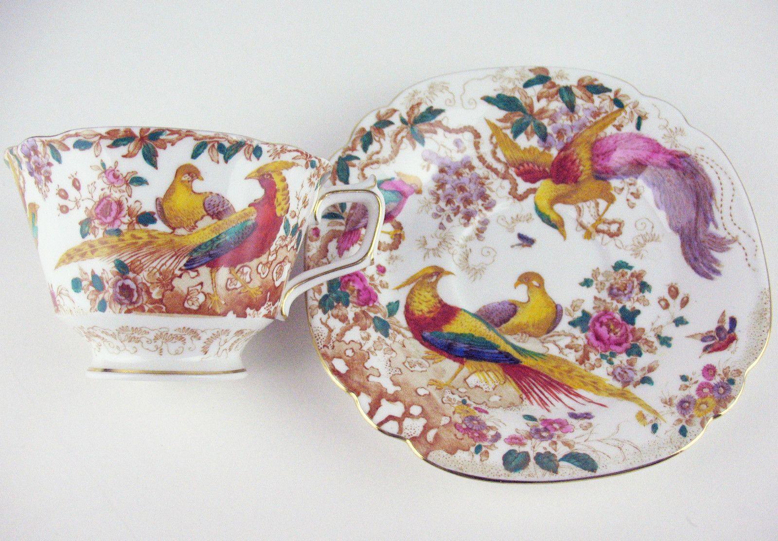 Teacup Saucer Royal Crown Derby Olde Avesbury Birds Cup | eBay