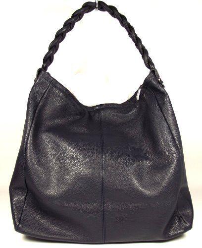 Handbags Italian Leather Dark Blue Very Large Handbag With Braided Handle