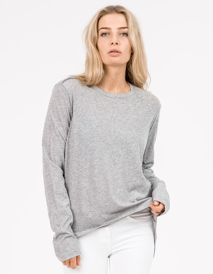 ff186e848cc6 The french seam tee with tails from Bassike is a long sleeve heritage neck t  shirt with exposed french seam on shoulder and a curved back hem.