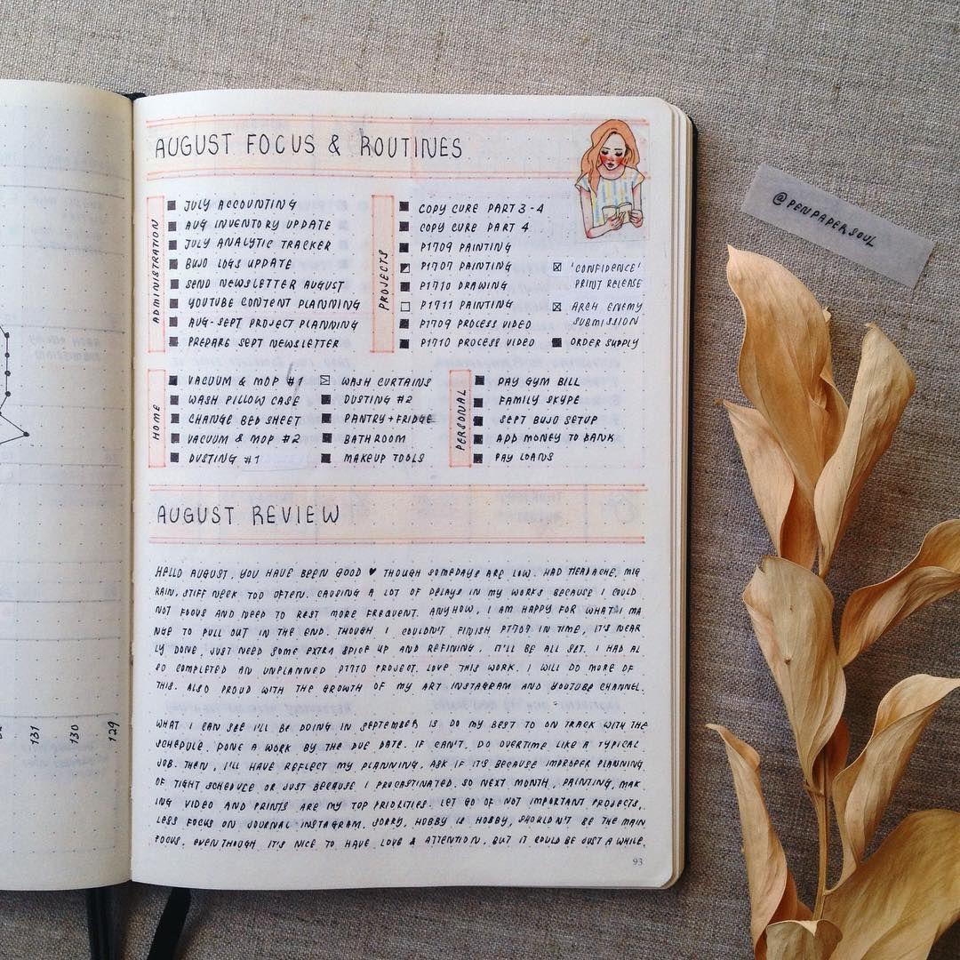 Bullet Journal August Review It S Been A Long Time Since I Did Monthly Review Bullet Journal Aesthetic Bullet Journal Inspiration Planner Bullet Journal