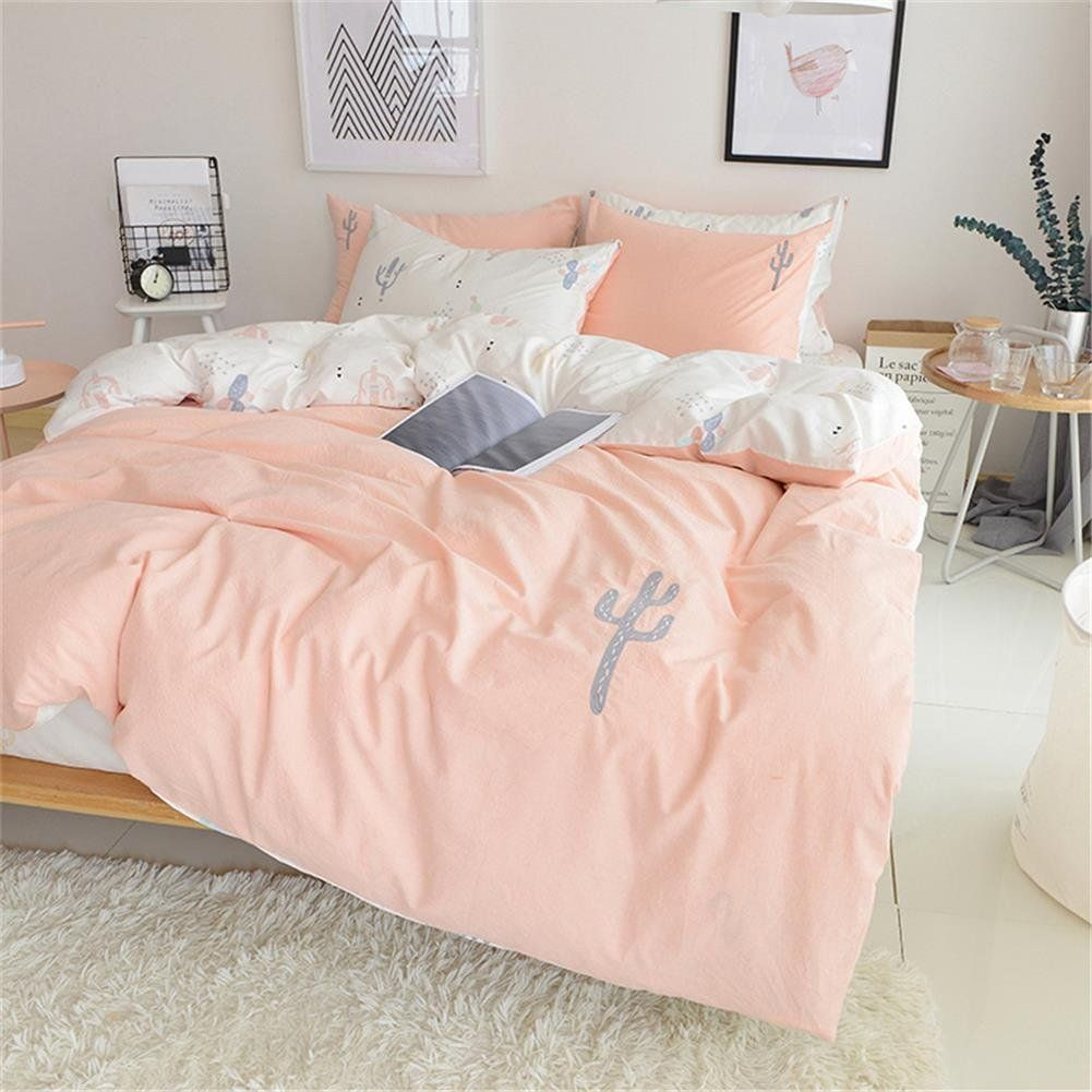 Twin duvet cover set pink white 100 cotton kids twin xl duvet cover boys girls 3 piece reversible soft embroidery cactus hotel bedding set comforter cover