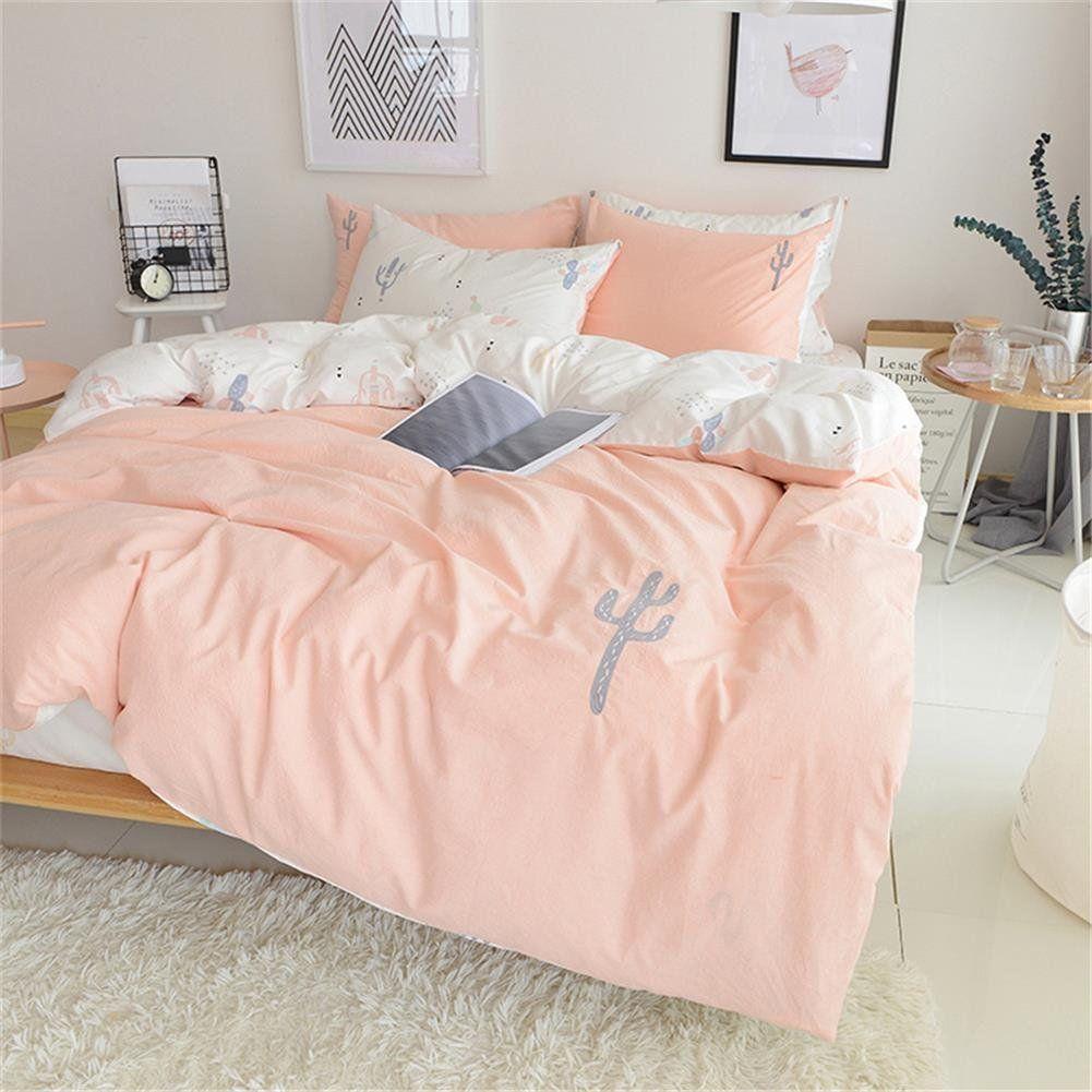 Twin Duvet Cover Set Pink White 100 Cotton Kids Twin Xl Duvet