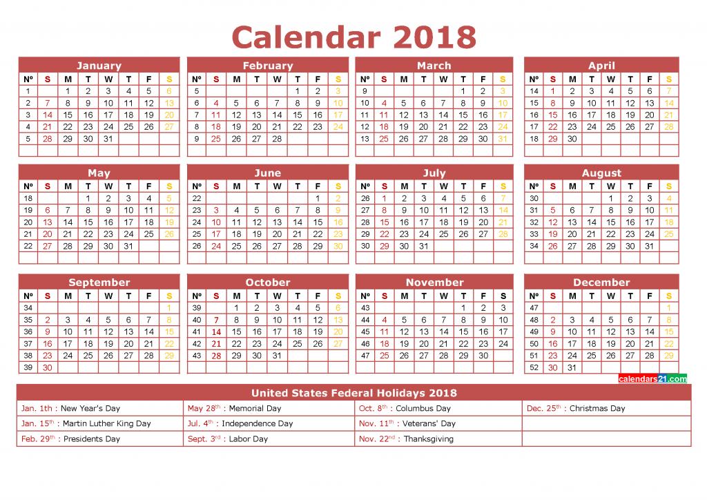 Calendario 2019 Week Number.12 Month 2018 Calendar With Week Numbers Printable