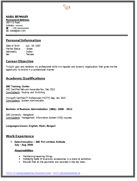 Professional Curriculum Vitae Resume Template For All Job Seekers Sample Template Example Of Be Resume Format Resume Format For Freshers Job Resume Template