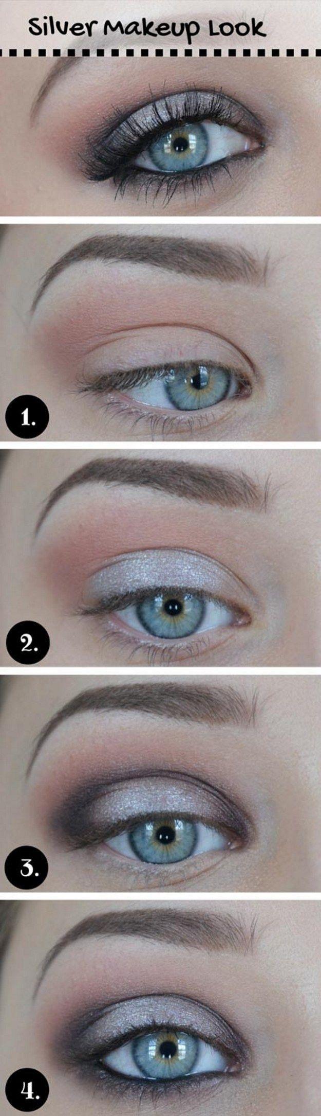 Diy tips makeup tutorials 2017 2018 how to do silver eye silver metallic tutorial for blue eyesbeauty tricks makeup baditri Image collections