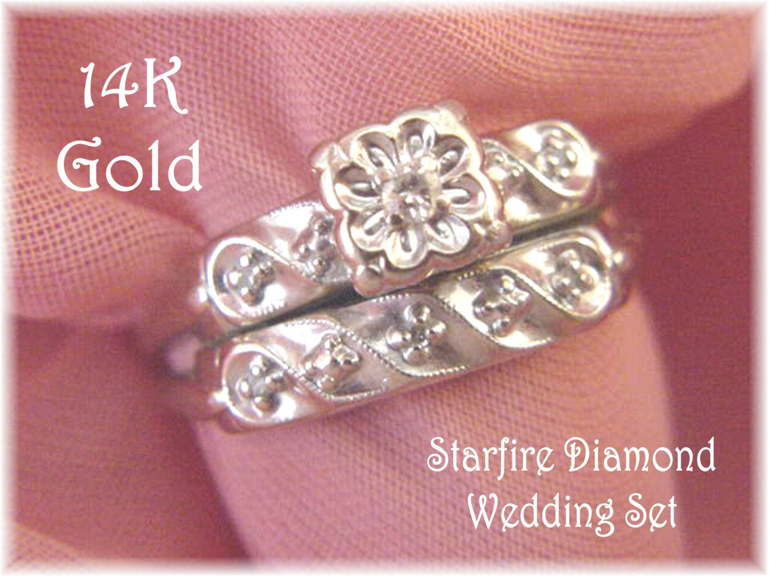 14K White Gold - Starfire Diamond Wedding Ring Set - Antique Vintage ...