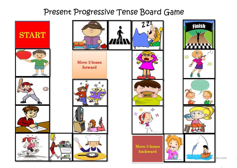 Present Progressive Tense Board Game   English worksheets for kids [ 1018 x 1440 Pixel ]