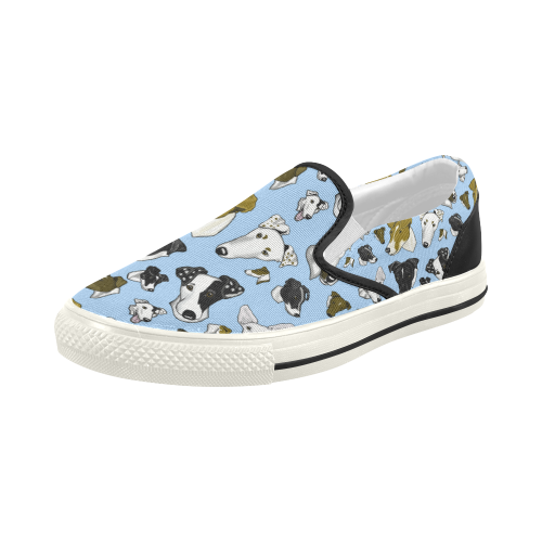 270f9c48522 Smooth fox Terrier Lt Blue Women s Slip-on Canvas Shoes (Model 019 ...
