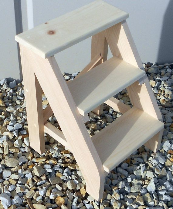 Handcrafted Pine Three Step Stool Unfinished Wood