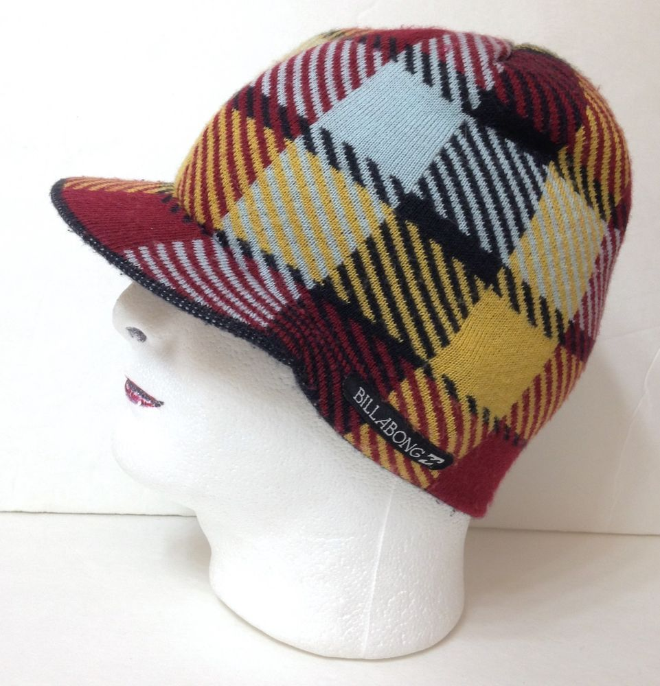 f66a21afed BILLABONG BRIMMED VISOR BEANIE Winter Knit Ski Hat Dark Red Yellow Plaid  Men Wom  Billabong  Beanie