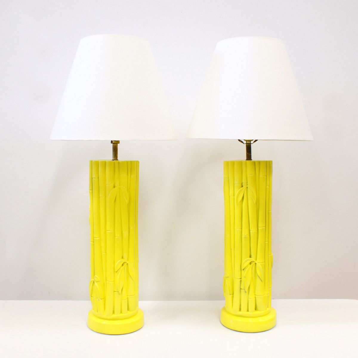 ca2ff31466cb Faux Bamboo Lamps Yellow Pair | Humble Abode | Bamboo lamp, Faux ...