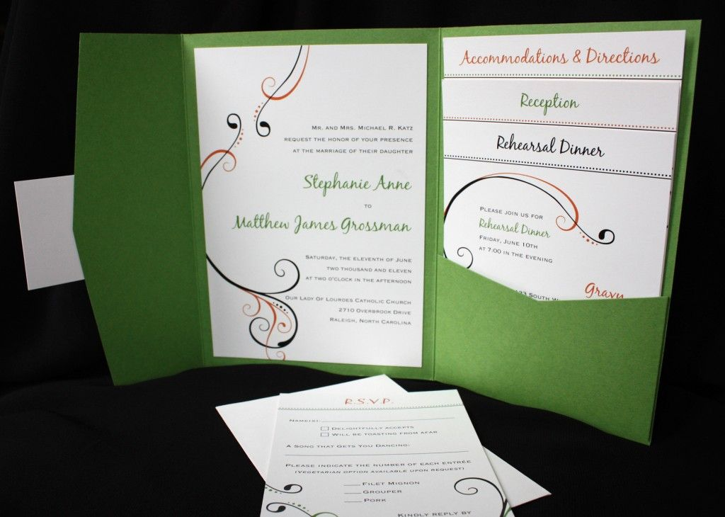 green-coral-and-black-simple-swirl-pocketfold-wedding-invitations, Wedding invitations