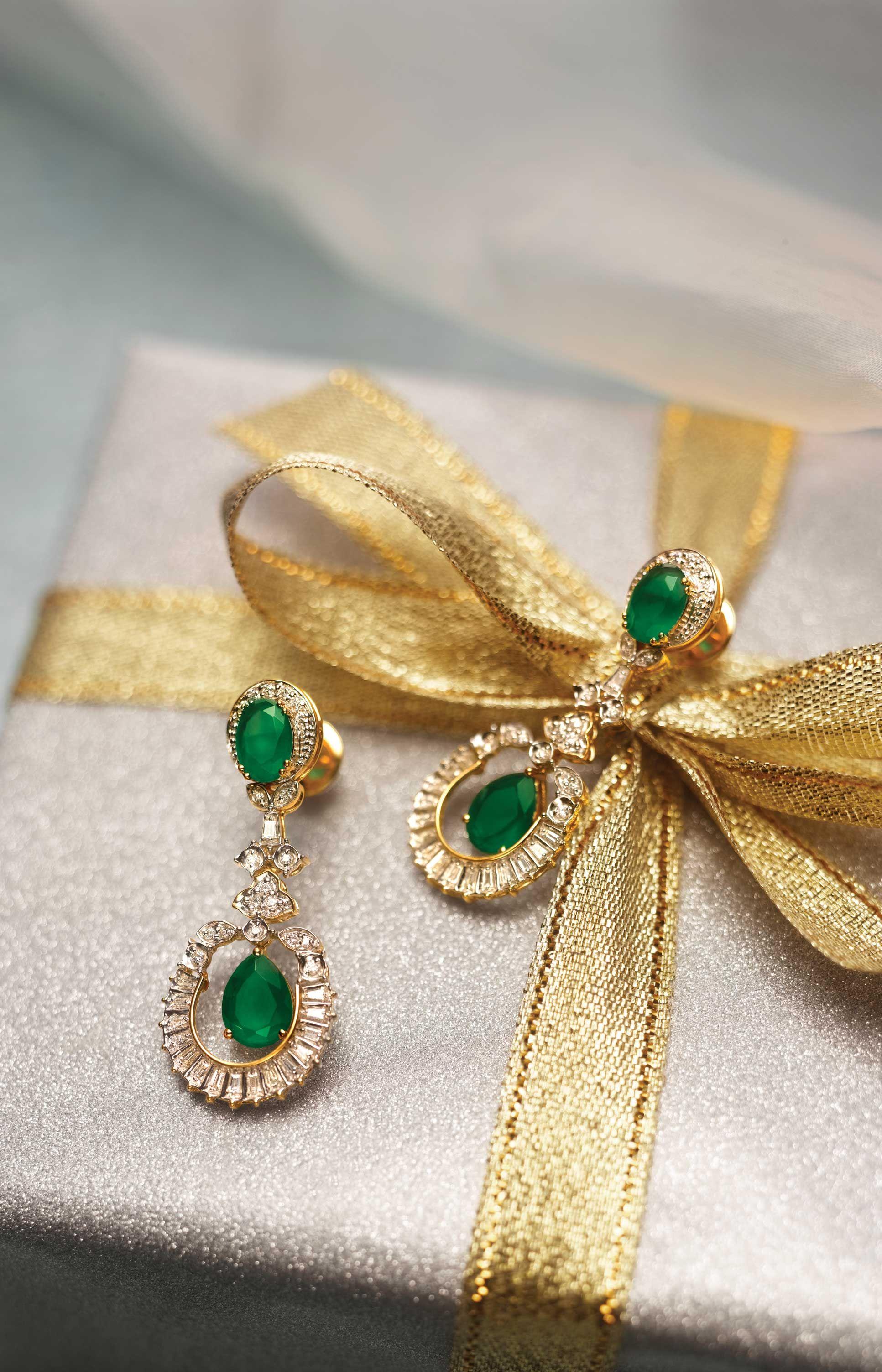Gold diamond emerald earrings Earnings Pinterest Emeralds