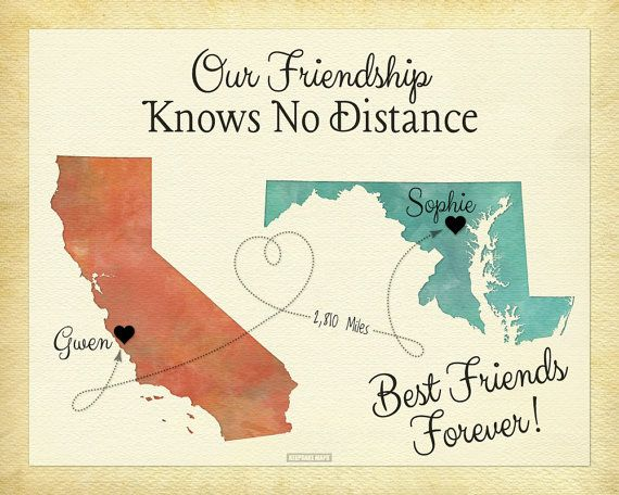 Best Friend Long Distance Present Going Away Gift By KeepsakeMaps