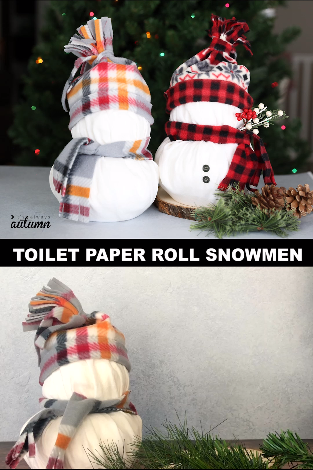 These adorable snowmen are made from rolls of toilet paper! This is a fun and easy Christmas craft. Great craft night idea!