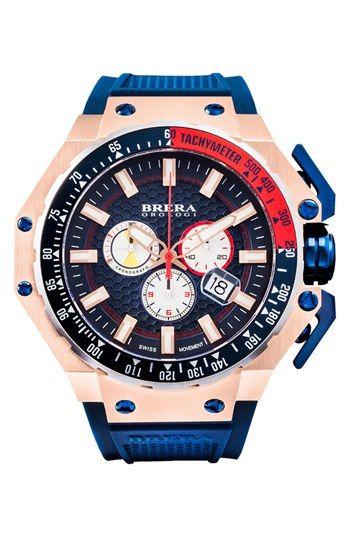 5c1ec75ce66 Men s Brera  Gran Turismo  Chronograph Silicone Strap Watch