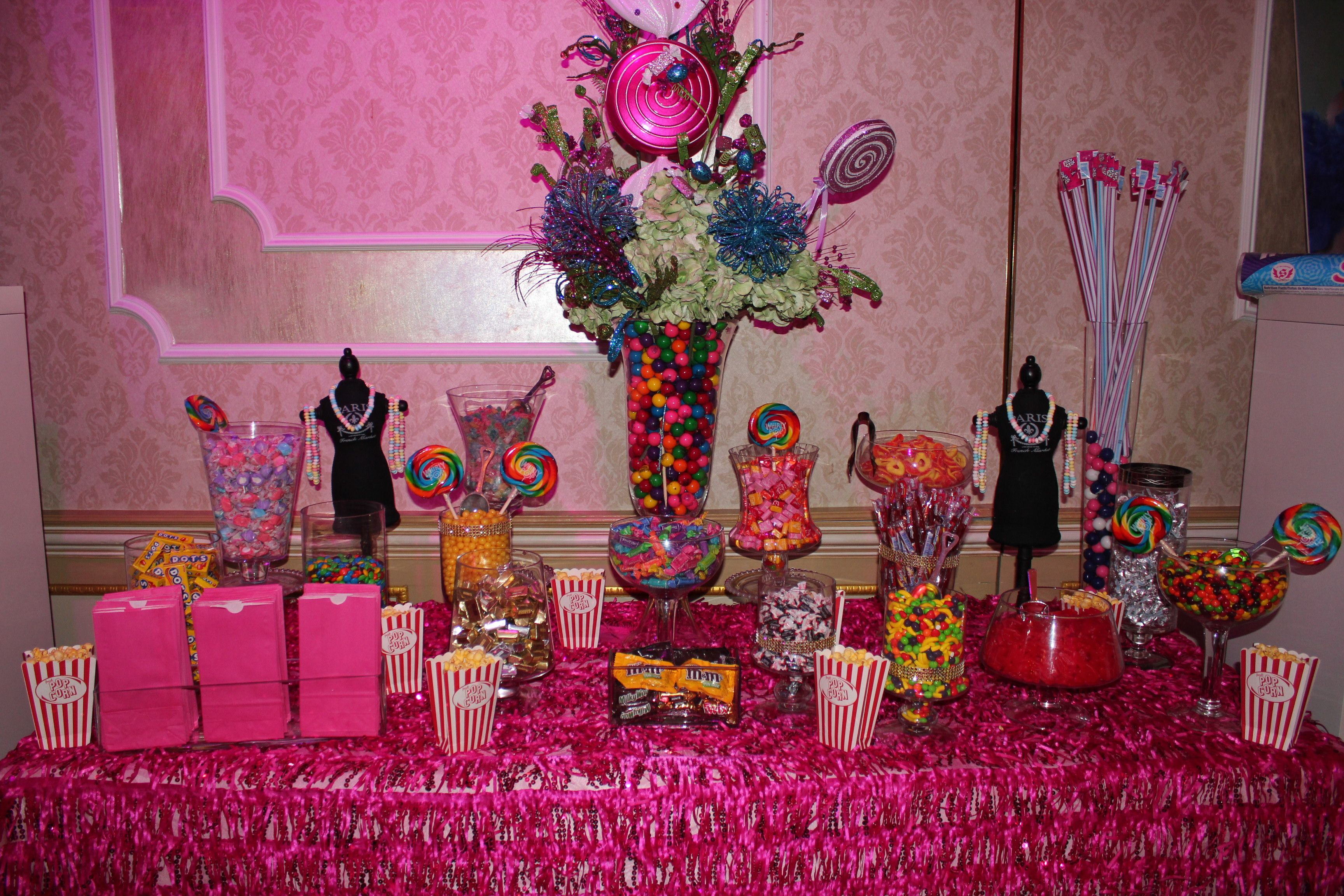 Candy Buffet Table Decor Sweet 16 Candy Theme