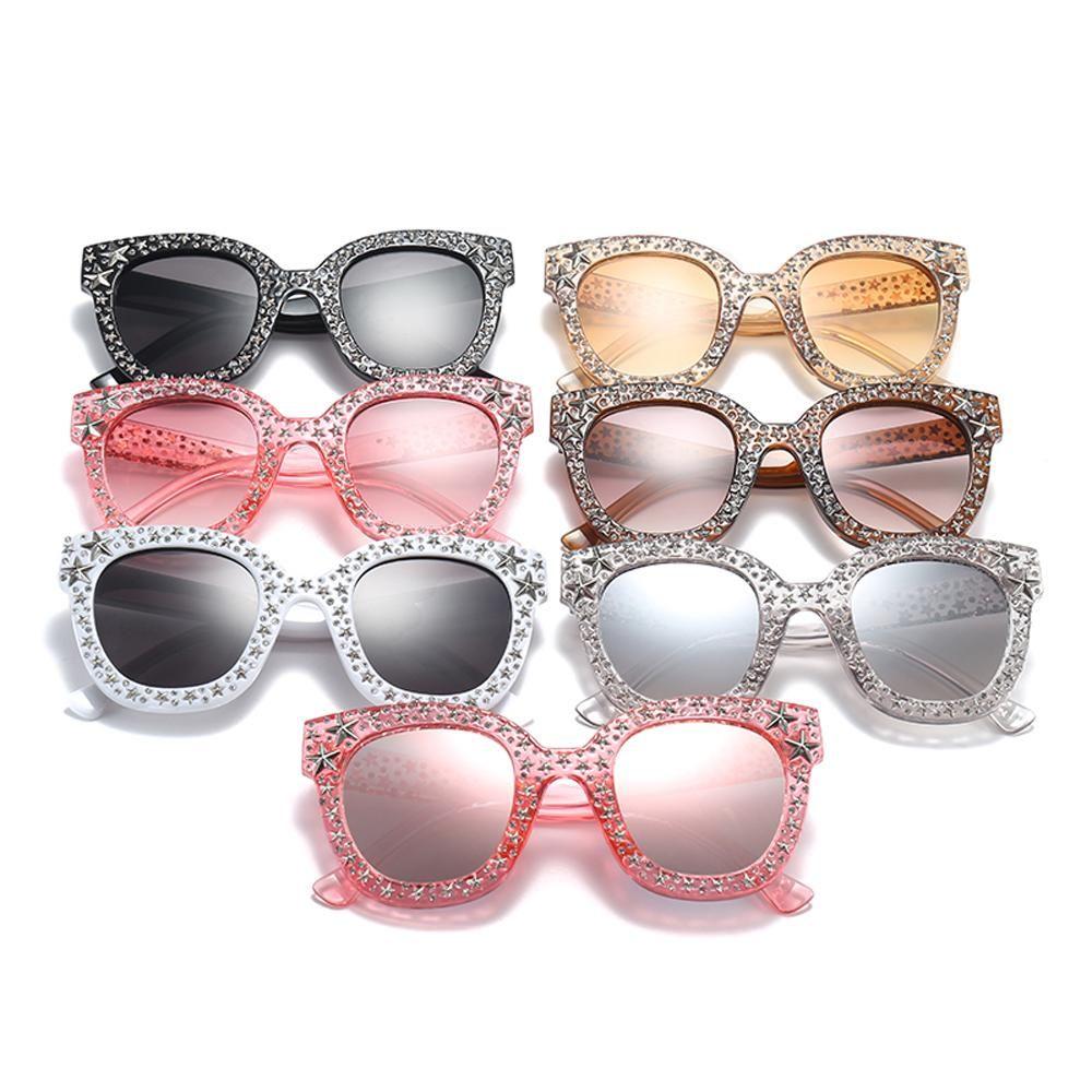Peekaboo pink rhinestone sunglasses star men unisex brown