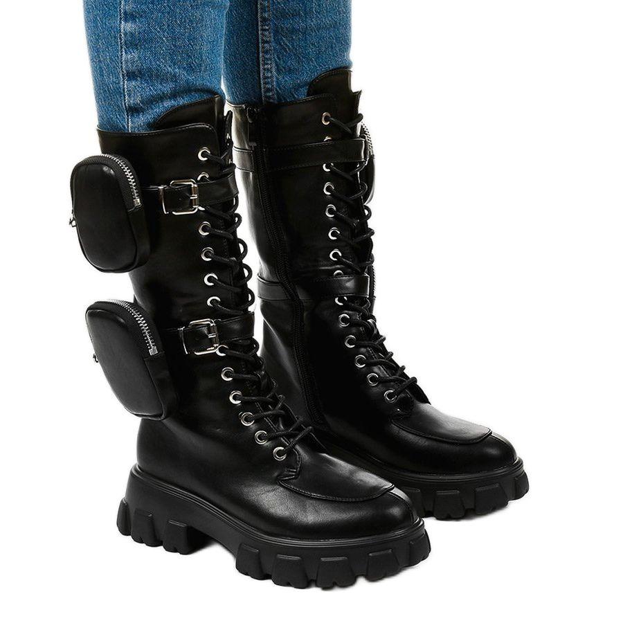 Czarne Botki Na Masywnej Podeszwie Speculation Combat Boots Army Boot Boots
