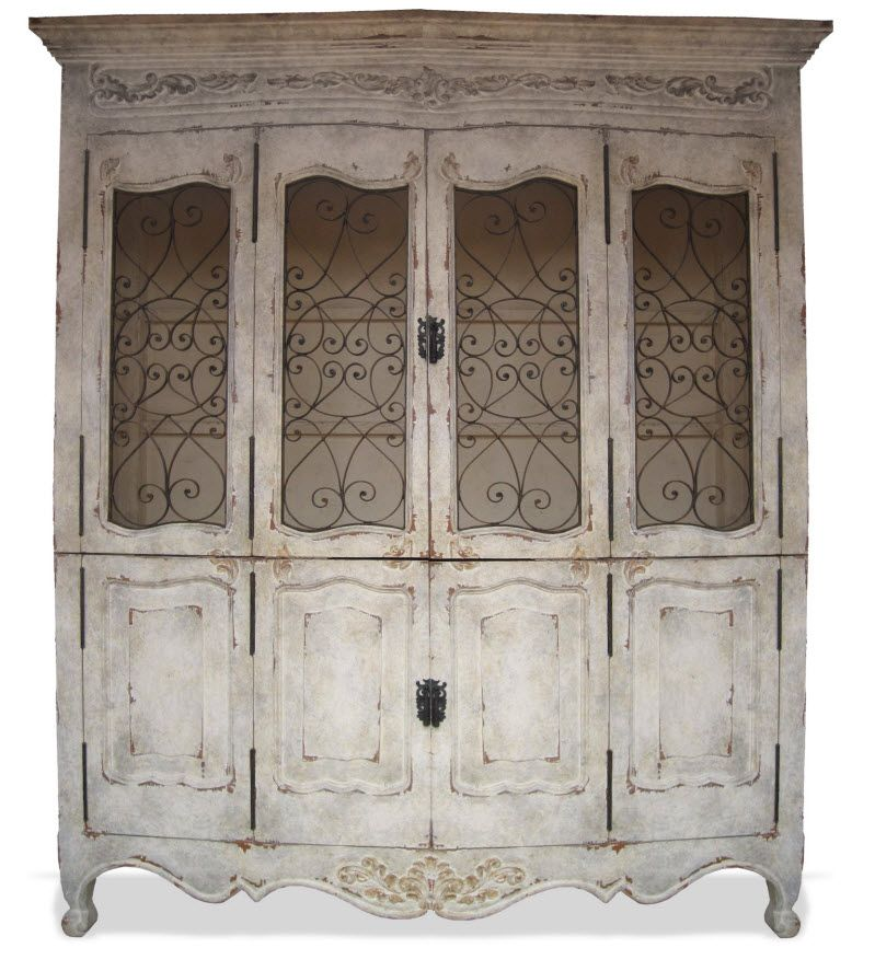 Hand Painted French Cabinet With Wrought Iron Country Furniture Decorating