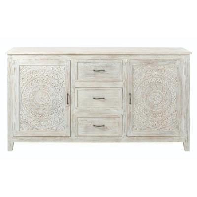 Home Decorators Collection Chennai 3 Drawer White Wash Dresser 9468000410 White Wash Dresser White Sideboard Furniture