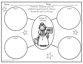 Susan B Anthony Activities Graphic Organizers Harriet Tubman