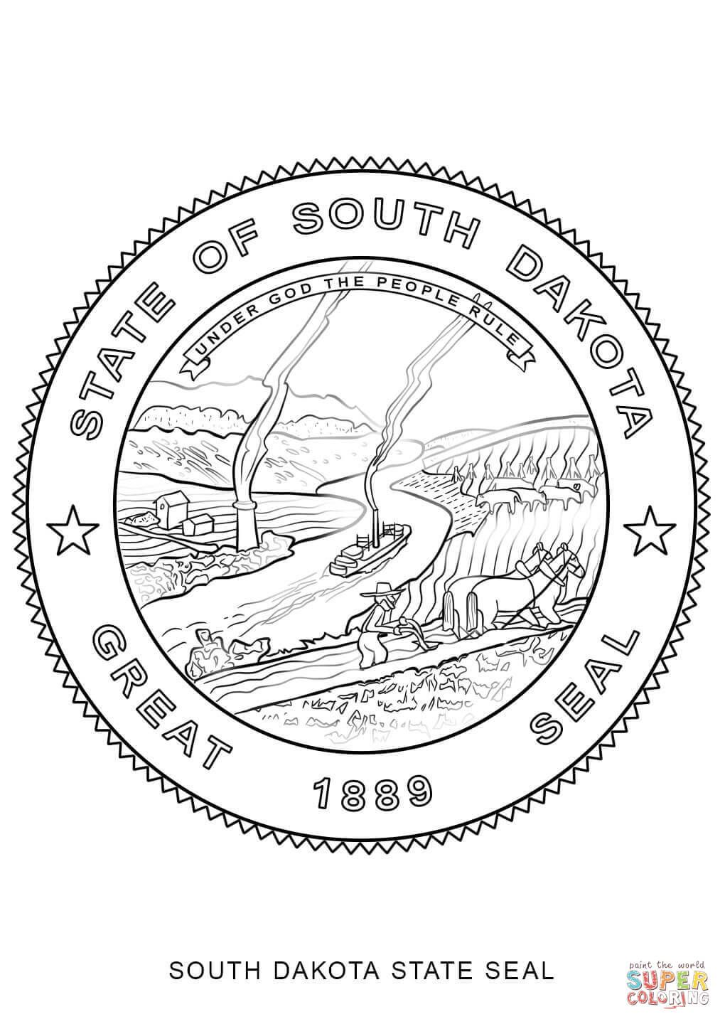 Click the South Dakota State Seal coloring pages to view