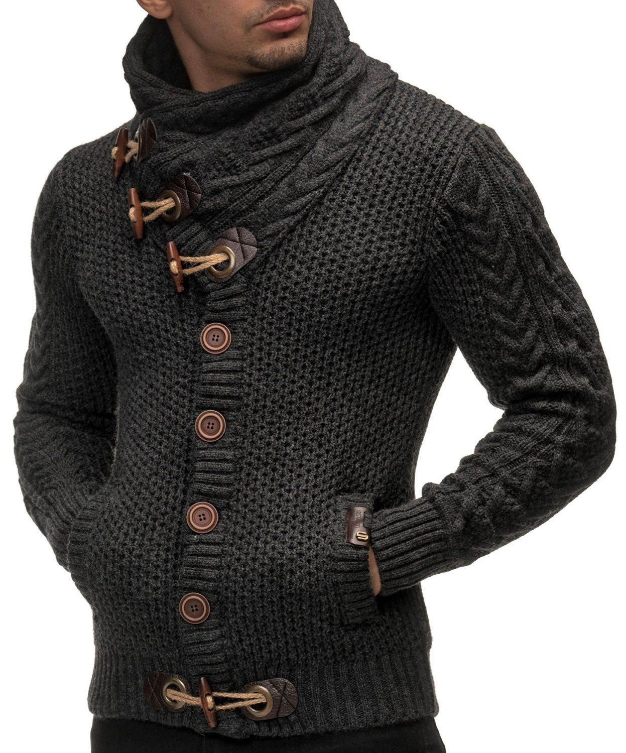 LEIF NELSON Men's Knitted Jacket Cardigan X-Large Anthracite | Más ...