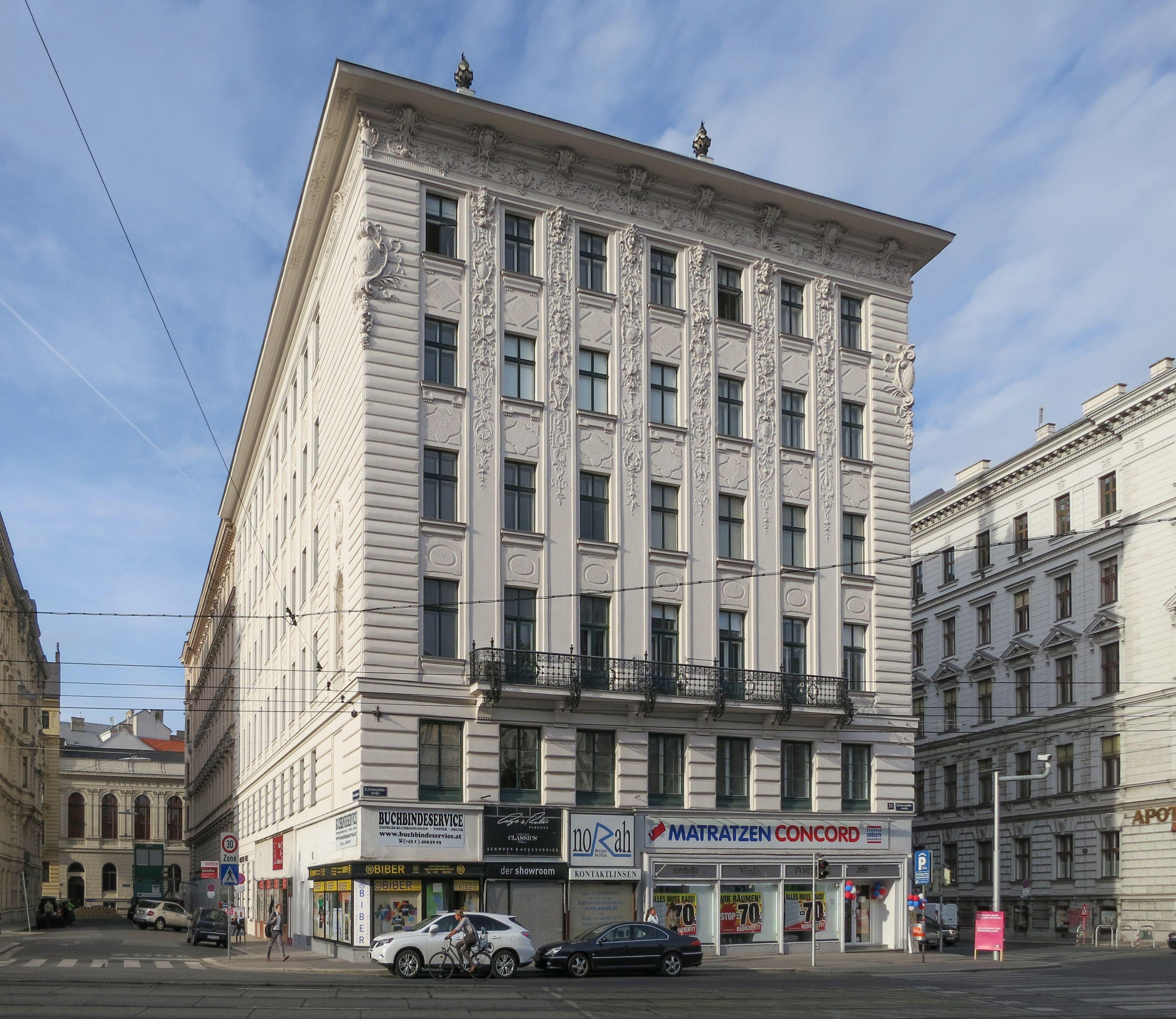 Otto Wagner, 1888 Hosenträgerhaus Universitätsstraße 12