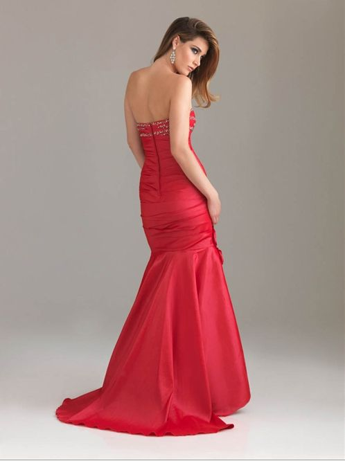 Sexy Strapless Red Mermaid Evening Gown / Prom Dress