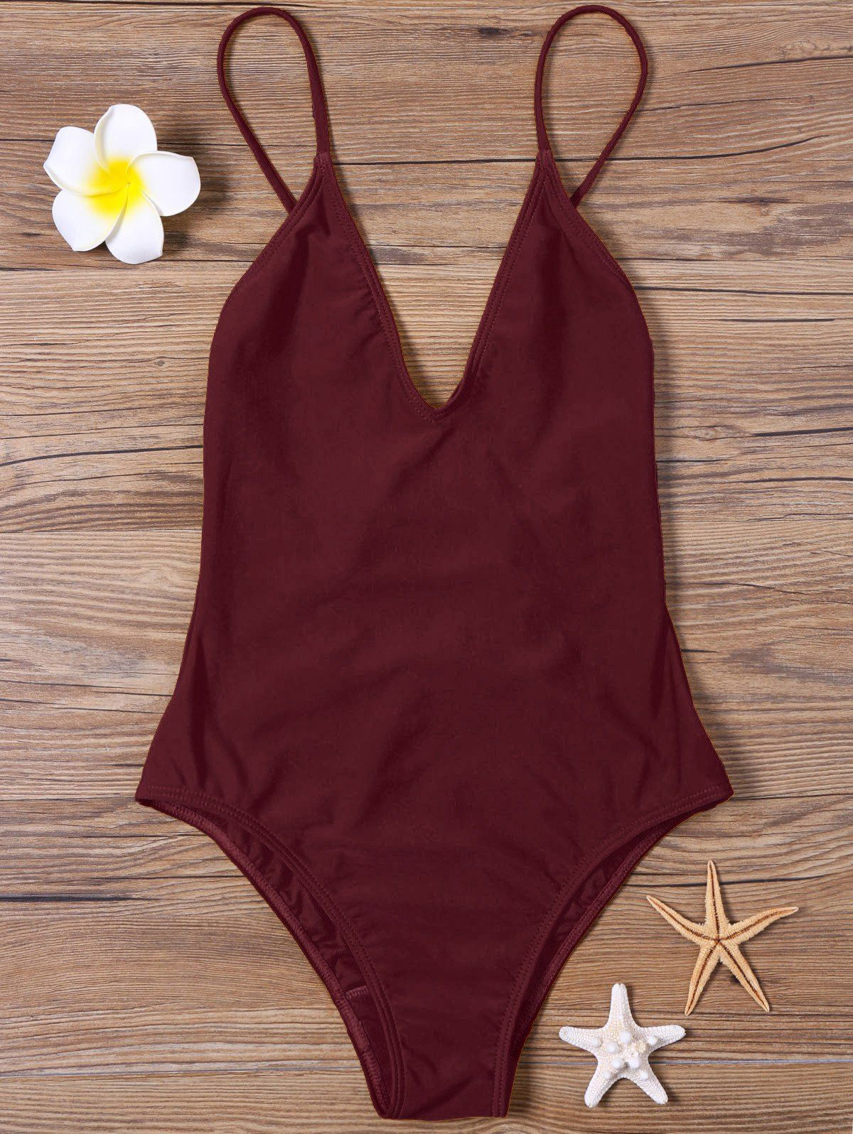 e767af39a95 Open Back High Cut One-piece Swimsuit - DARK RED M | Swimmies en ...