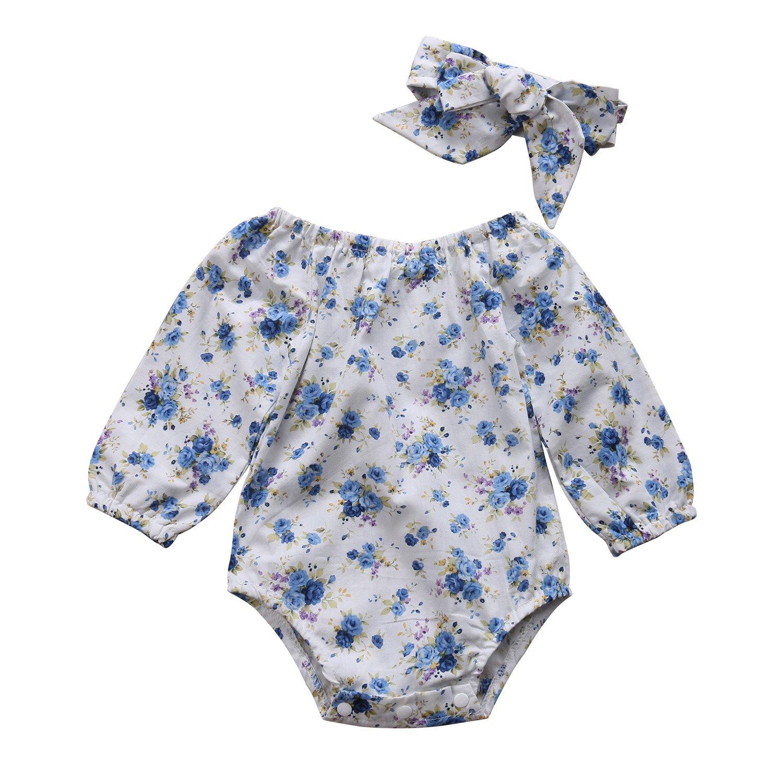 92775de40 Baby Clothing Newborn Kid Baby Girls Boys Floral Long Sleeve Romper Jumpsuit  +Headband Outfit Set