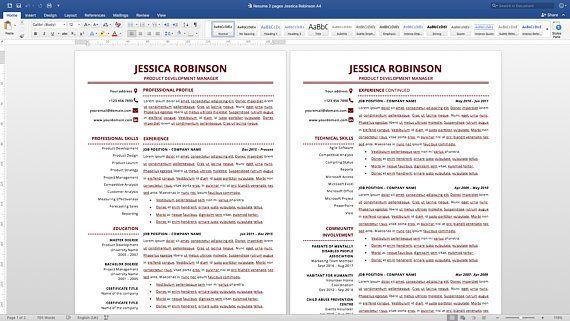 Modern Resume Template, Simple Resume Template, Classic Resume - modern resume templates word