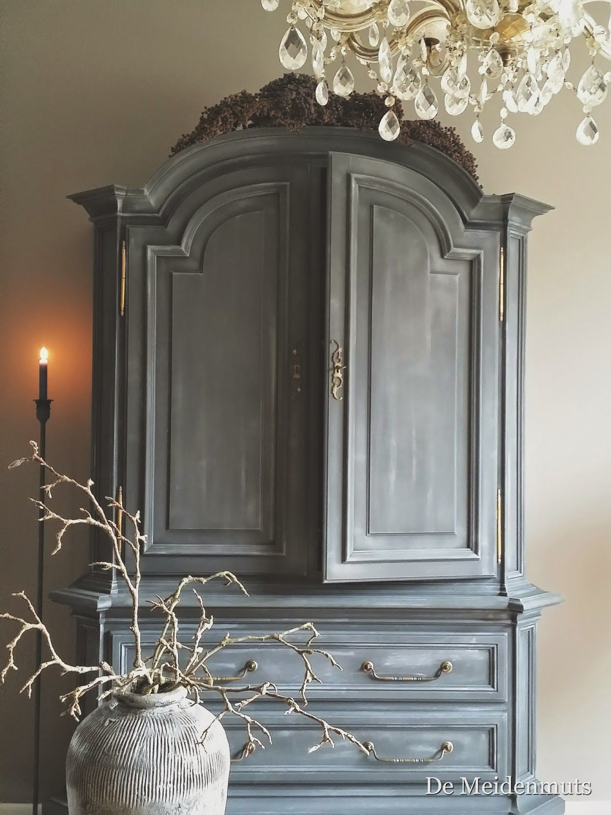 Beautiful Painted Cabinet White Washed Top Coat Over
