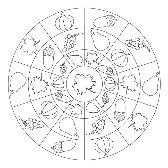 Autumn Mandala Coloring Page 7 Mandala Malvorlagen Mandala