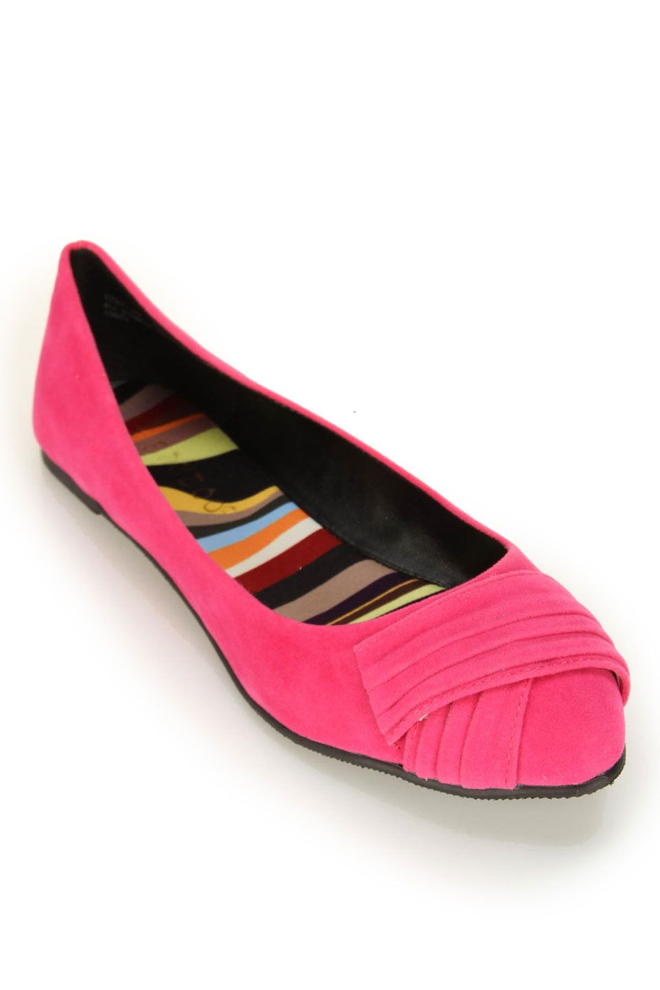 Bamboo Jump-29 Pleated Front Pointy Ballet Flat In Fuchsia
