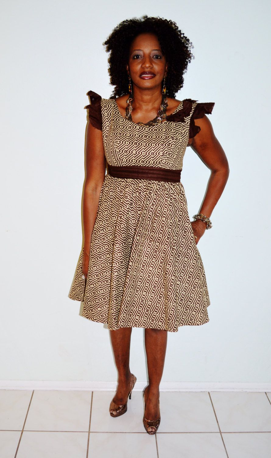 Beige and brown african print party dress african dress africans african dress ankara fabric short dress beige and brown dress party dress ombrellifo Images