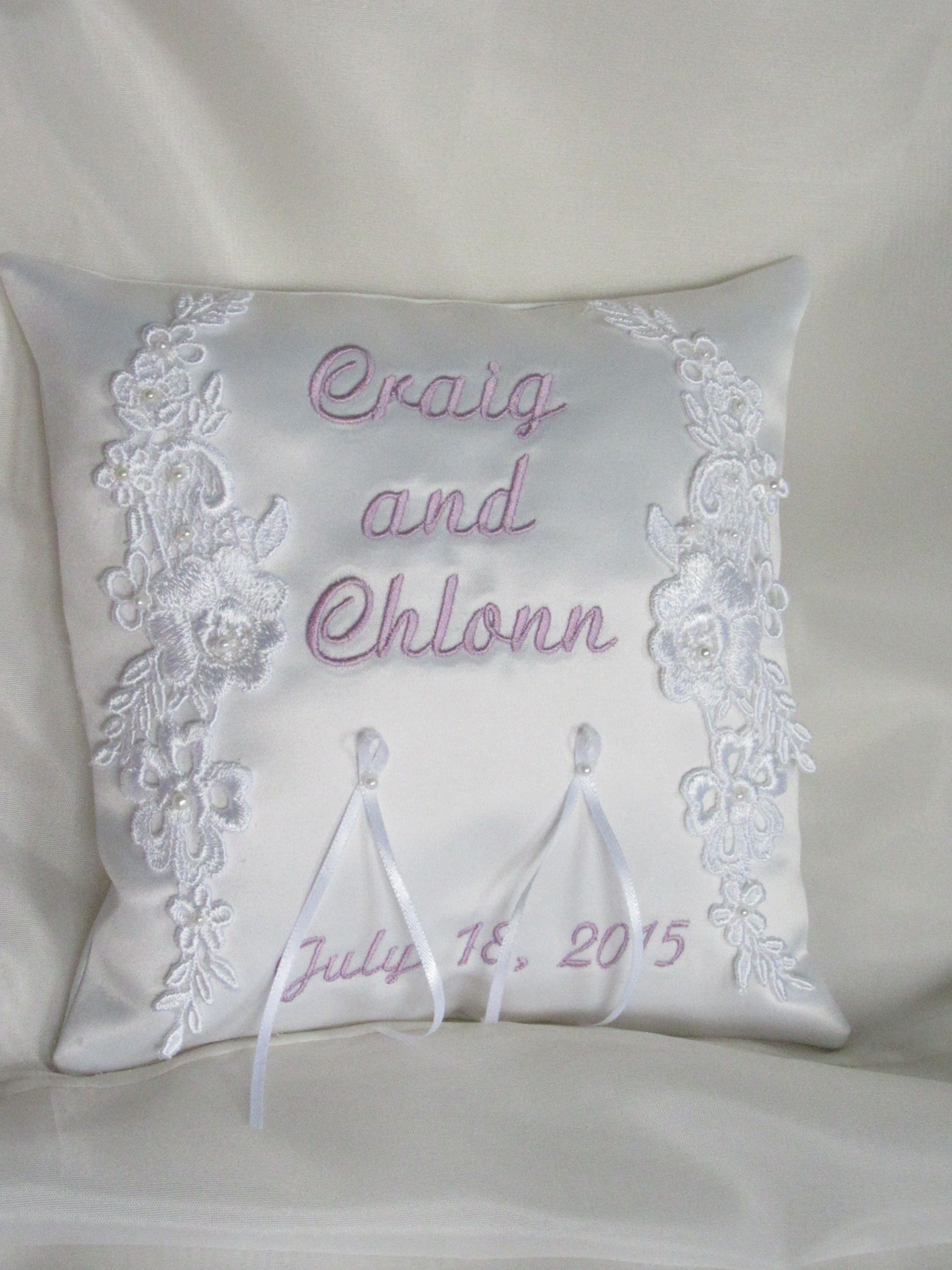 "8"" wedding ring pillow decorated with machine embroidered design"