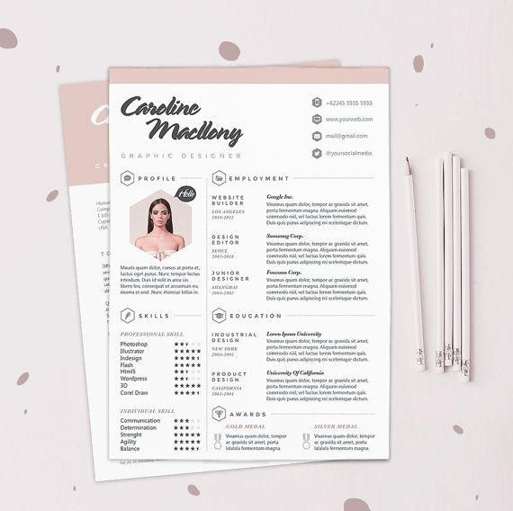 Resume CV Design Template + Cover Letter Instant Digital - download cover letter template