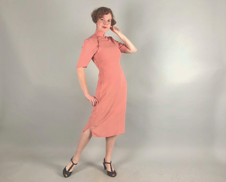 1940er Jahre Vintage Kleid 40er Jahre Kleid Lachs rosa | Western ...