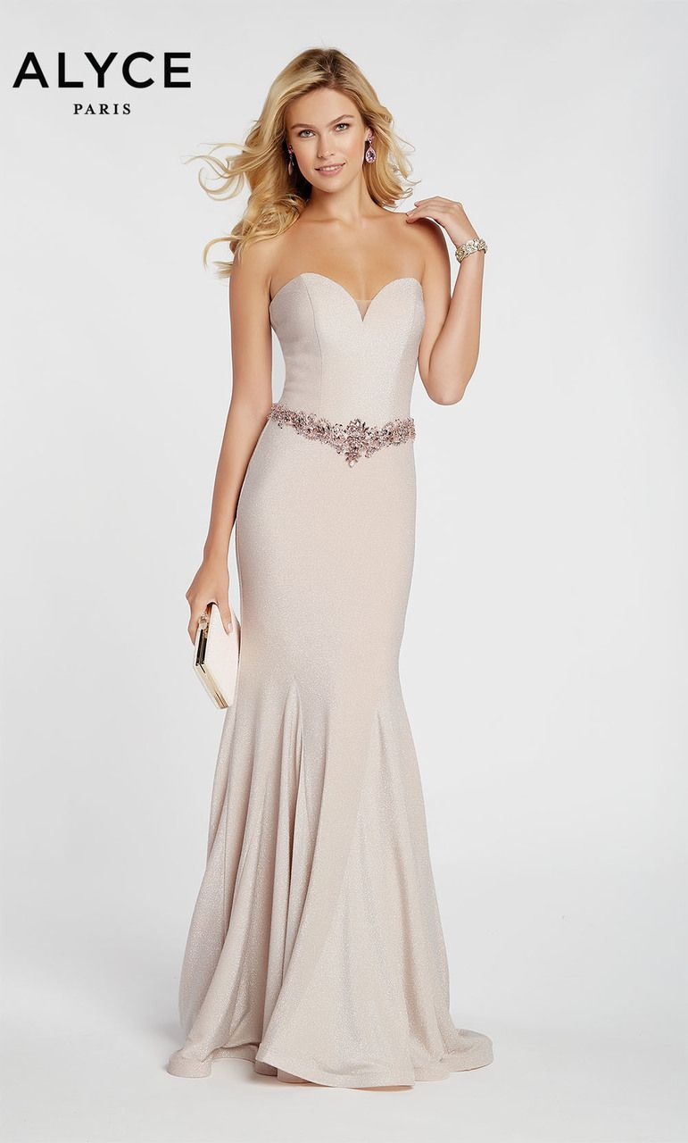 05fbd76209c Alyce Paris Style 60290 Fitted Strapless Sparkle Jersey Mermaid Dress With  Sweetheart V Neck And Embellished Waist. Colors Available  French Pink