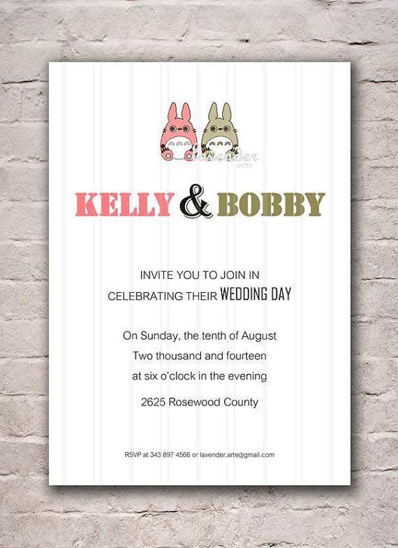 Wedding Invitation, Digital Wedding Invite, Totoro Couple Invite - invitation card event
