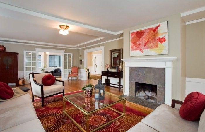 dekoideen wohnzimmer wandbild kamin farbiger teppich helle möbel - wohnzimmer ideen mit kamin