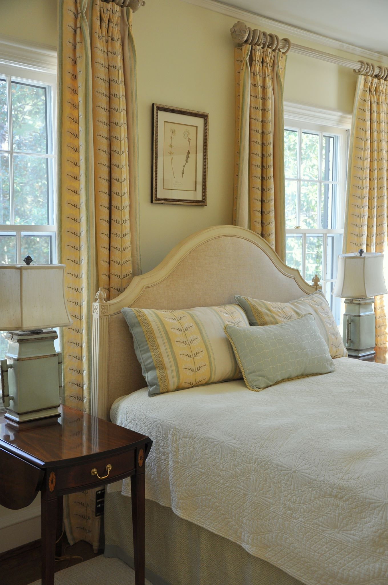 Hickory chair simone upholstered headboard made in north - Bedroom furniture made in north carolina ...