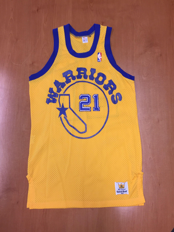 fbbe46dc5a3 Vintage 1980 - 1982 World B Free Golden State Warriors Sand Knit Jersey Size  40 champion jason richardson stephen jackson latrell sprewell by ...