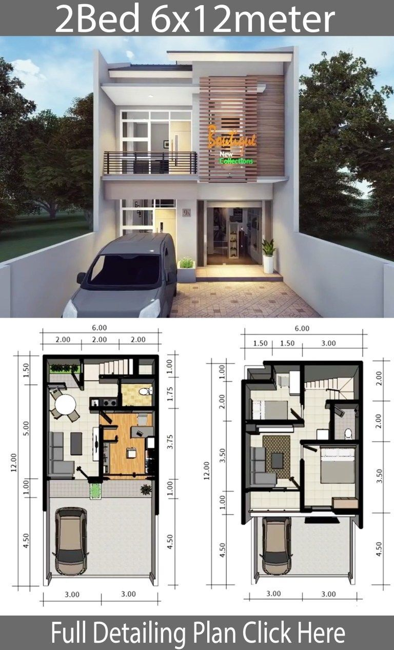 Home Design Plan 6x12m With 2 Bedrooms Home Design With Plan Arsitektur Rumah Arsitektur Rumah Indah