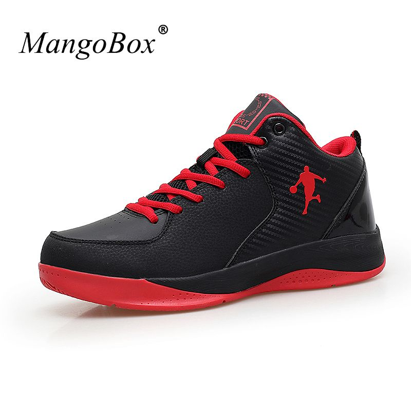 c0290d3c2927b 2016 Mens Basketball Sneakers Leather Sport Shoes Black Red Outdoor Court  Shoes Training Men Athletic Basketball Shoes